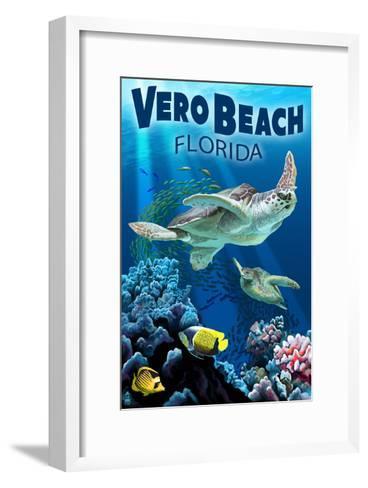 Sea Turtles - Vero Beach, Florida-Lantern Press-Framed Art Print