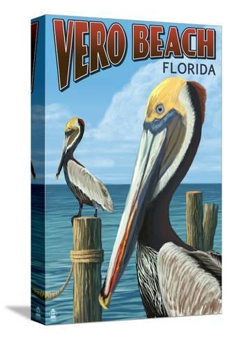 Brown Pelicans - Vero Beach, Florida-Lantern Press-Stretched Canvas Print