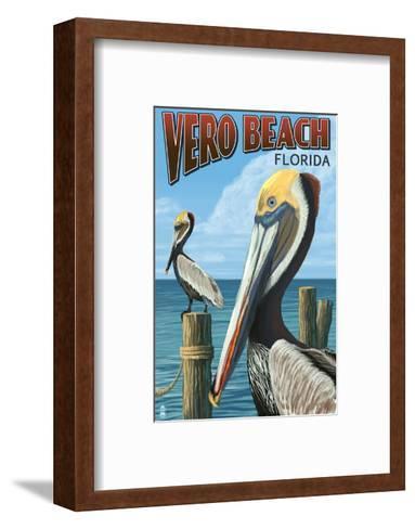 Brown Pelicans - Vero Beach, Florida-Lantern Press-Framed Art Print