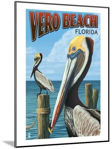 Brown Pelicans - Vero Beach, Florida-Lantern Press-Mounted Art Print