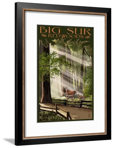 Big Sur, California - Deer and Fawns-Lantern Press-Framed Art Print