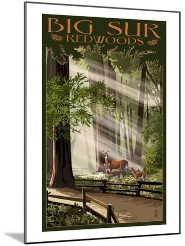 Big Sur, California - Deer and Fawns-Lantern Press-Mounted Art Print