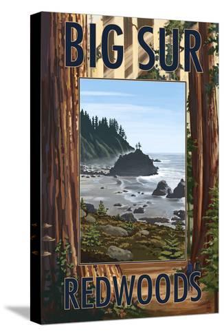Big Sur, California - Trees and Ocean Scene-Lantern Press-Stretched Canvas Print