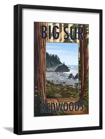 Big Sur, California - Trees and Ocean Scene-Lantern Press-Framed Art Print