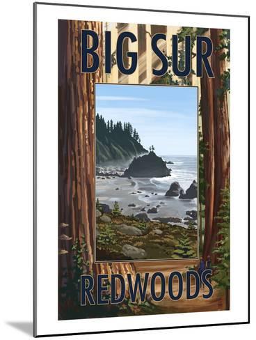 Big Sur, California - Trees and Ocean Scene-Lantern Press-Mounted Art Print