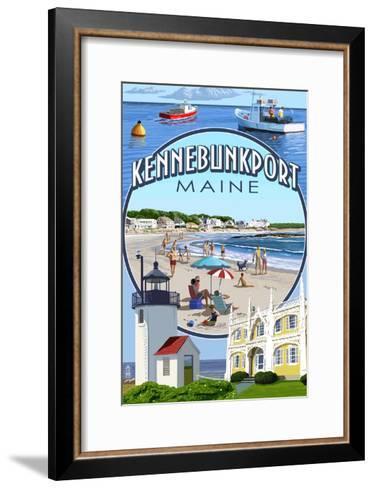Kennebunkport, Maine - Montage Scenes-Lantern Press-Framed Art Print