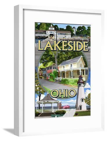 Lakeside, Ohio - Montage Scenes-Lantern Press-Framed Art Print