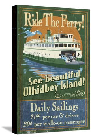 Whidbey Island, Washington - Ferry-Lantern Press-Stretched Canvas Print