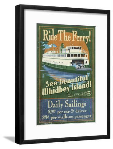 Whidbey Island, Washington - Ferry-Lantern Press-Framed Art Print