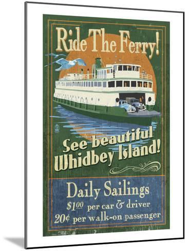 Whidbey Island, Washington - Ferry-Lantern Press-Mounted Art Print