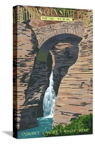 Watkins Glen State Park, New York - Entrance Cascade and Sentry Bridge-Lantern Press-Stretched Canvas Print
