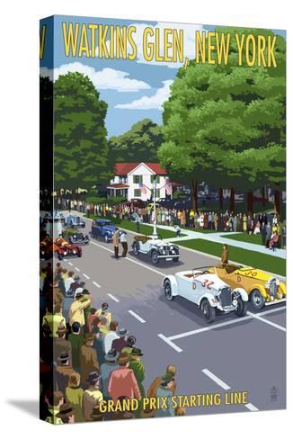 Watkins Glen State Park, New York - Grand Prix Starting Line-Lantern Press-Stretched Canvas Print