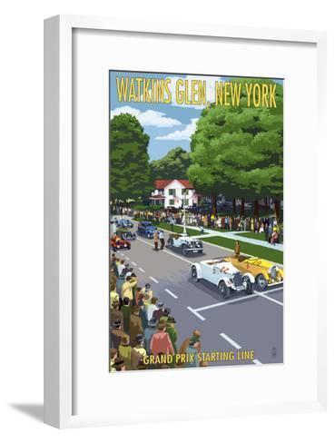 Watkins Glen State Park, New York - Grand Prix Starting Line-Lantern Press-Framed Art Print