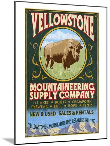 Yellowstone National Park - Bison Mountaineering-Lantern Press-Mounted Art Print