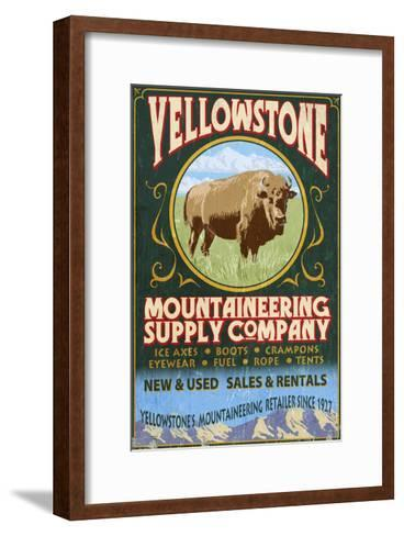 Yellowstone National Park - Bison Mountaineering-Lantern Press-Framed Art Print