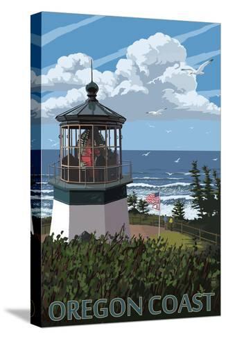 Lighthouse Scene - Oregon Coast-Lantern Press-Stretched Canvas Print