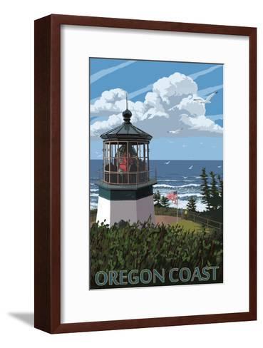 Lighthouse Scene - Oregon Coast-Lantern Press-Framed Art Print