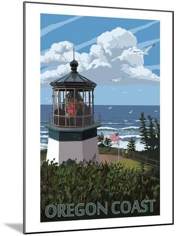 Lighthouse Scene - Oregon Coast-Lantern Press-Mounted Art Print