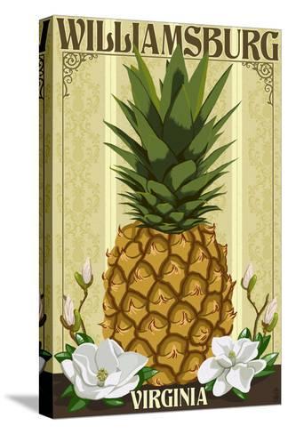Williamsburg, Virginia - Colonial Pineapple-Lantern Press-Stretched Canvas Print