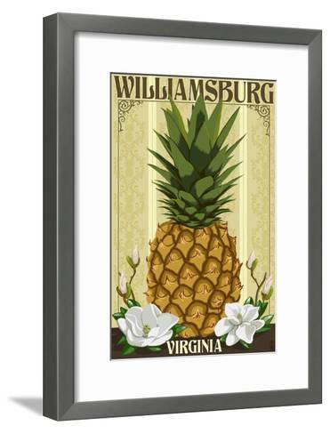 Williamsburg, Virginia - Colonial Pineapple-Lantern Press-Framed Art Print