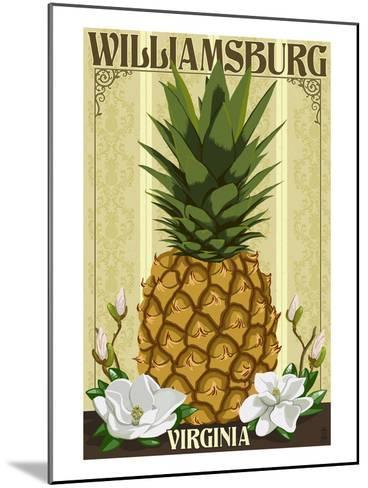 Williamsburg, Virginia - Colonial Pineapple-Lantern Press-Mounted Art Print