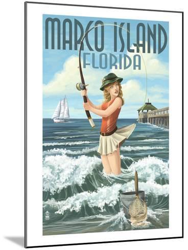 Marco Island, Florida - Pinup Girl Surf Fishing-Lantern Press-Mounted Art Print