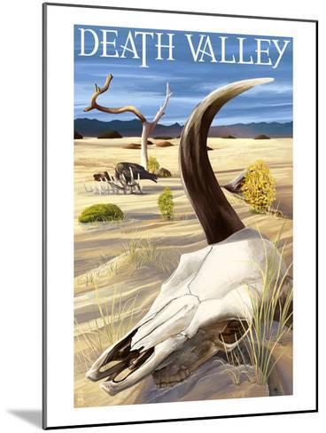 Cow Skull - Death Valley National Park-Lantern Press-Mounted Art Print