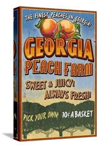 Georgia - Peach Farm-Lantern Press-Stretched Canvas Print
