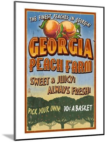Georgia - Peach Farm-Lantern Press-Mounted Art Print