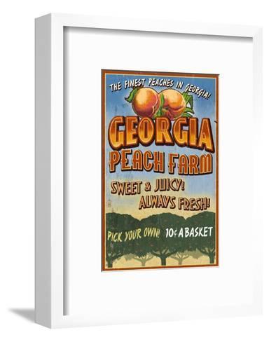 Georgia - Peach Farm-Lantern Press-Framed Art Print