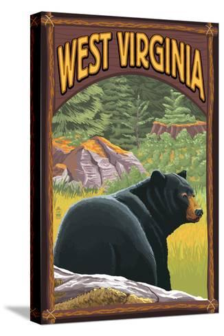 West Virginia - Black Bear in Forest-Lantern Press-Stretched Canvas Print