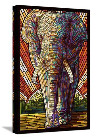 Elephant - Paper Mosaic-Lantern Press-Stretched Canvas Print