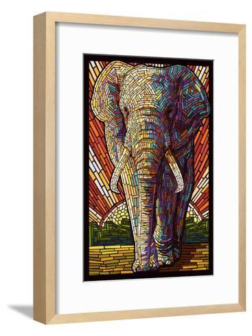 Elephant - Paper Mosaic-Lantern Press-Framed Art Print