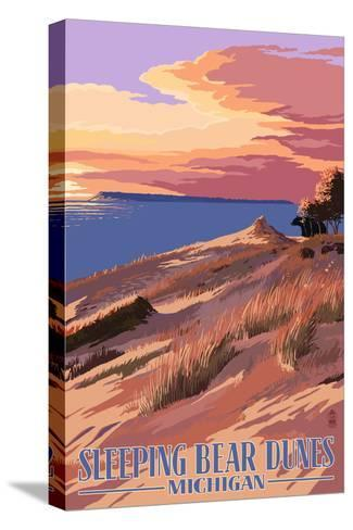 Sleeping Bear Dunes, Michigan - Dunes Sunset and Bear-Lantern Press-Stretched Canvas Print