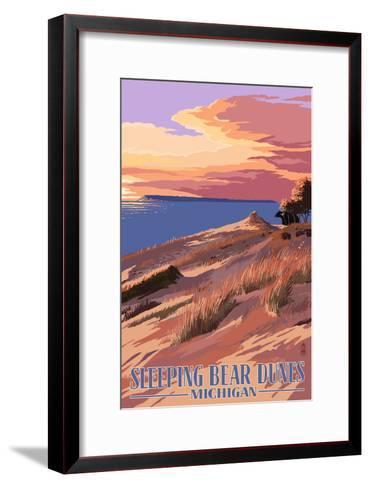 Sleeping Bear Dunes, Michigan - Dunes Sunset and Bear-Lantern Press-Framed Art Print