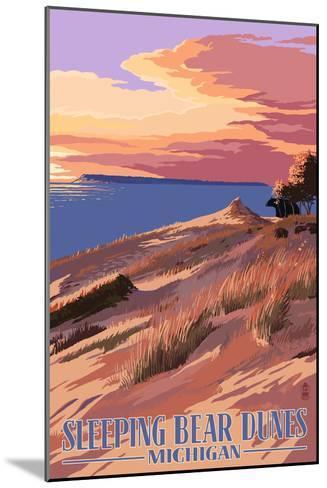 Sleeping Bear Dunes, Michigan - Dunes Sunset and Bear-Lantern Press-Mounted Art Print