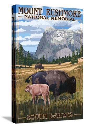 Mount Rushmore National Memorial, South Dakota - Bison Scene-Lantern Press-Stretched Canvas Print