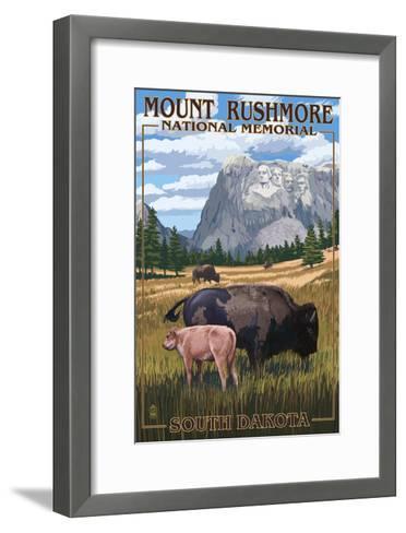 Mount Rushmore National Memorial, South Dakota - Bison Scene-Lantern Press-Framed Art Print
