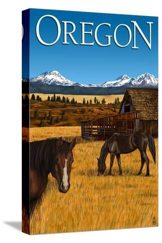 Horses and Mountain - Oregon-Lantern Press-Stretched Canvas Print