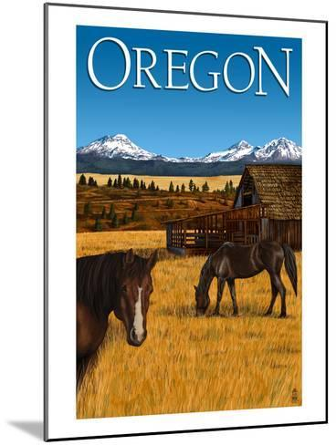 Horses and Mountain - Oregon-Lantern Press-Mounted Art Print