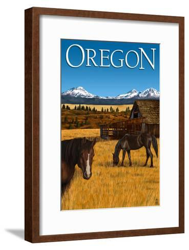 Horses and Mountain - Oregon-Lantern Press-Framed Art Print