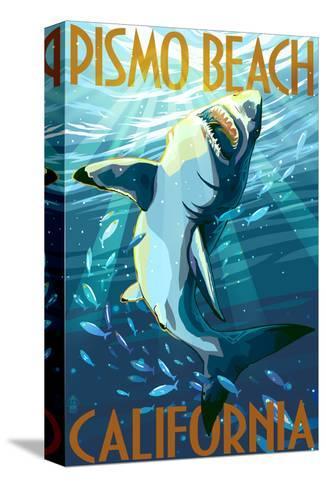 Pismo Beach, California - Stylized Sharks-Lantern Press-Stretched Canvas Print