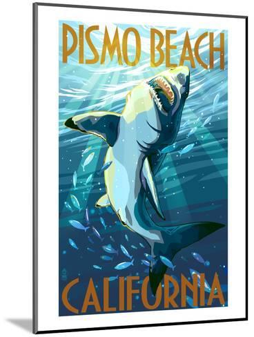 Pismo Beach, California - Stylized Sharks-Lantern Press-Mounted Art Print