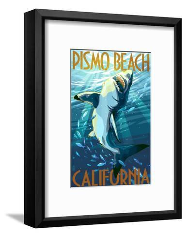 Pismo Beach, California - Stylized Sharks-Lantern Press-Framed Art Print