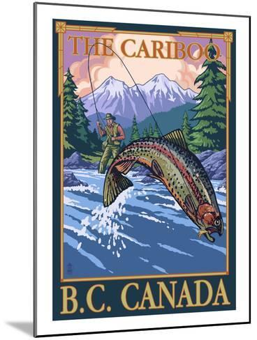 Fly Fisherman - The Cariboo, BC, Canada-Lantern Press-Mounted Art Print