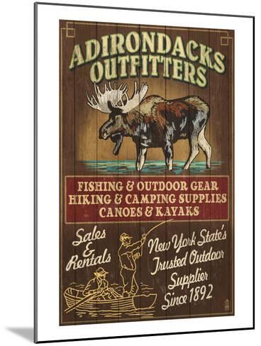 The Adirondacks - Long Lake, New York State - Moose Outfitters-Lantern Press-Mounted Art Print