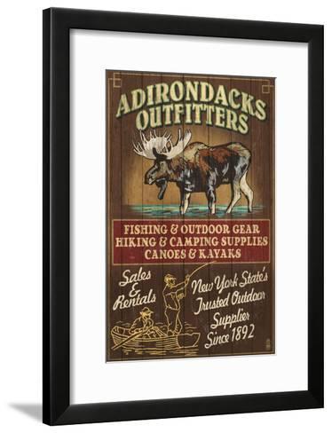 The Adirondacks - Long Lake, New York State - Moose Outfitters-Lantern Press-Framed Art Print