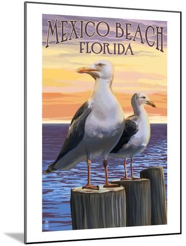 Mexico Beach, Florida - Sea Gulls-Lantern Press-Mounted Art Print