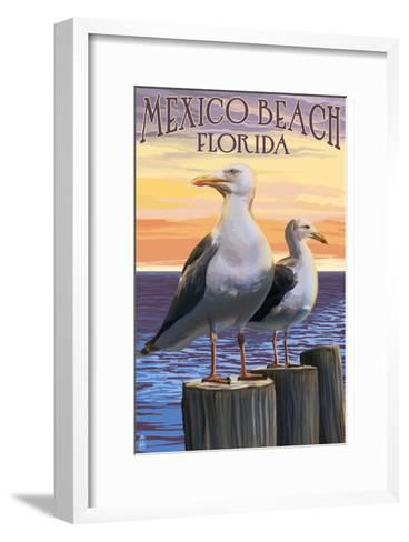 Mexico Beach, Florida - Sea Gulls-Lantern Press-Framed Art Print