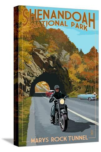 Shenandoah National Park, Virginia - Marys Rock Tunnel Motorcycle-Lantern Press-Stretched Canvas Print